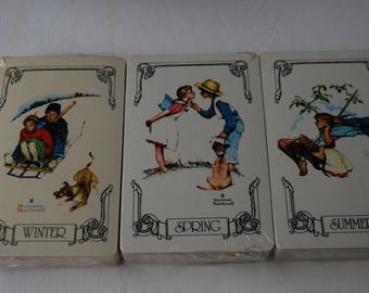 Lot of 3 Box Vintage Sealed Norman Rockwell Spring,Summer,Winter Complete Deck Playing Cards By Trump