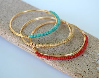 Wire Bangle Bracelet Set, Red, Gold and Turquoise Seed Beads on Gold Colored Wire,  Available in Silver, Gift Boxed