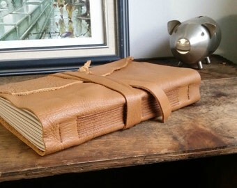 Large Leather Journal, Caramel, Hand-Bound 5.75 x 8.75 Journal by The Orange Windmill on Etsy 1608