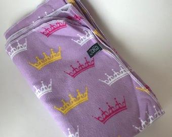 Handmade XL Flannel Receiving blanket / Swaddle blanket - purple princess tiara print