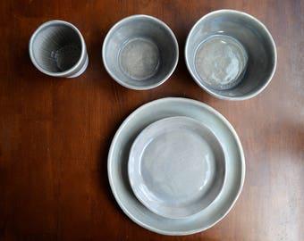Celadon Basics FULL SET Dinnerware set Minimalist Dinnerware Plates Bowls Cups Slip Cast and Slab Dinnerware in Classic Grey
