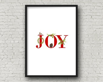 JOY Red CHRISTMAS Alphabet Printable, DIY Wall Art, Cards, Crafts, Easy to download and print.