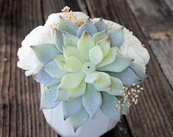 Artificial Succulent arrangement, centerpiece, midcentury modern white ceramic vase, home decor, sola flowers, house warming, wedding