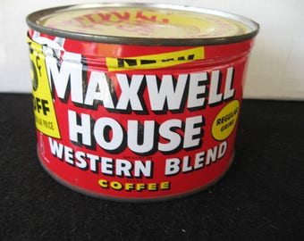 Vintage 1 lb Maxwell House Coffee Tin original lid-Red