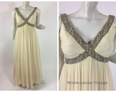 60's to 70's Beaded Ivory Silk Chiffon Evening Gown - Grecian Style Column Wedding Dress - Royalton Ltd of Hong Kong - Plus Size 12 to 14