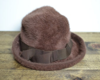 Vintage Soft Kangol Hat - Womens Angora Bucket Hat with Grosgrain Ribbon