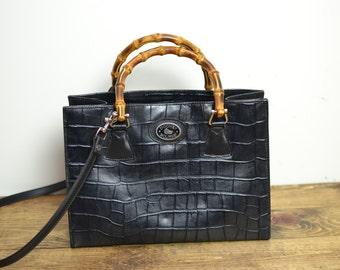 Dooney and Bourke Bag - Vintage Croco Black Leather Bamboo Handle Crossbody Purse