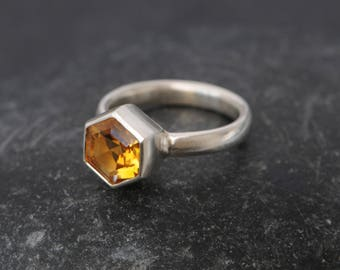 Citrine Hexagonal Ring  -  Citrine Engagement Ring - Citrine Solitaire Ring - Yellow Gemstone Ring - Made to Order - FREE SHIPPING