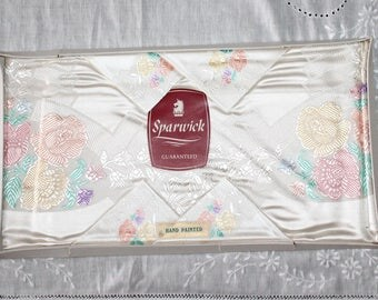 Vintage hand painted floral tablecloth. English Sparwick cloth. New old stock tablecloth