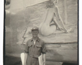 Airplane Nose Art Nude Woman found art photo vernacular photography social realism military WW2 WWII WW11 vintage original photograph