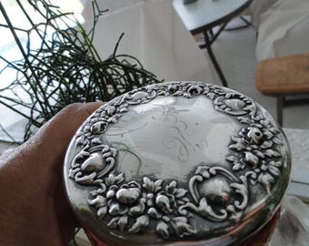 C740)  Antique Pink Glass with Sterling Silver Top Dresser Jar