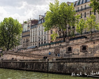 Seine River, Paris France with Historical Buildings, Trees & People - 681