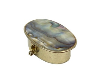 Vintage Abalone & Silver Pill Box // 1960s Alpaca and Mother of Pearl // Oval, Hinged, Lidded Trinket Box, Clasp Closure // Made in Mexico