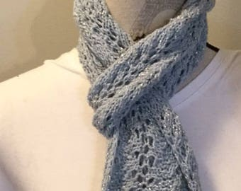 Powder blue lace hand knit sparkle scarf, wedding scarf. spring accessory, knit scarf, something blue, teal scarf, winter scarf. handmade