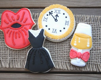 New Years Eve Party Favors / New Years Eve Decorations / New Years Eve Party / New Years Eve Party Sugar Cookies - 12 cookies