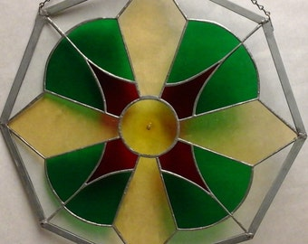 Red, Green and Yellow Stained Glass Octagon 20 Inch