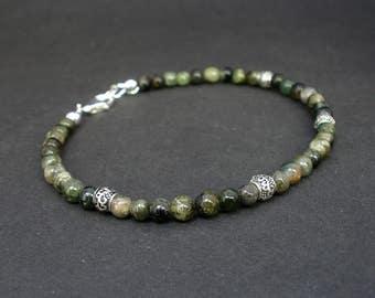 Natural Gemstone Green Tourmaline and 925 Bali Silver Men Bracelet 4.5mm, Tourmaline Unisex Bracelet