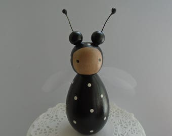 Hand Painted Wooden Large Bug Peg Doll