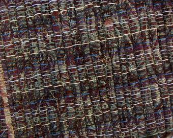 handmade loom woven long runner rust brown earth tones designer fabric  south dakota made