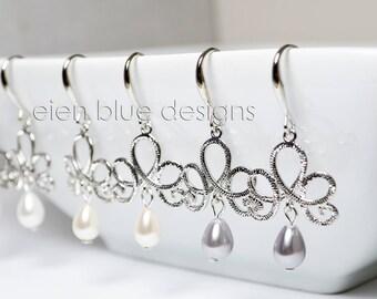 Teardrop Pearl Earrings, Gray Pearl Earrings, Crystal Chandellier Earrings, Ivory Pearl Earrings, White Pearl Earrings, Crystal Earrings