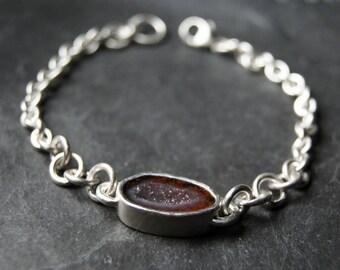 Red Geode Bracelet in Sterling Silver