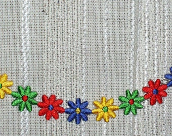 "Iron on Applique One Line of  Flowers Applique Red, Blue, Yellow, Green 8.75"" Long 1.5"" Wide Super Cute   Ships Free Inside US"