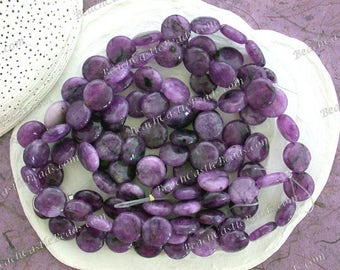 "6 ~ 7"" Strands, Sale Beads, Destash Beads 12mm Flat Round Purple Malaysia Jade Beads Semi Precious Stone Beads, Destash Supplies DS-847"