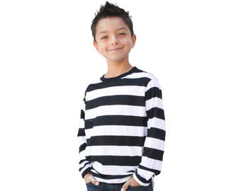 Child's Long Sleeve Black & White Striped Shirt