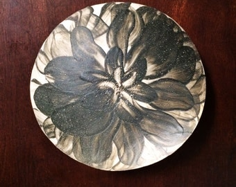 Floral Pinch Pot - Black and White Flower Ceramic Bowl