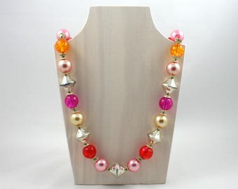 """Vintage chunky lucite bead long necklace, 32"""" inch, silver beads, pink, orange, red, gold, purple, round bubble string, double cone bicone"""