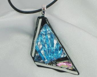 NORTHERN LIGHTS - icy blue fused glass jewelry pendant with necklace