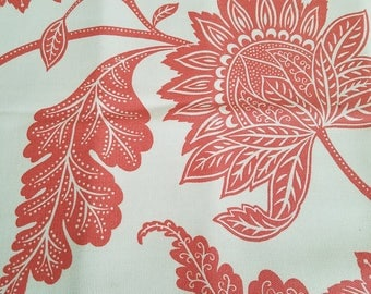 Home Decor Canvas Cotton Fabric//Cream and Coral Floral