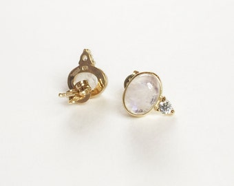 NEW Orb Earstuds - Moonstone Earrings, Bridesmaids Gift, Gifts for Her