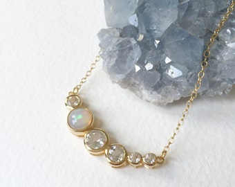 NEW Curve - Ethiopian Opal and White Topaz Curve Necklace, Bridesmaids Gift, Gifts for Her