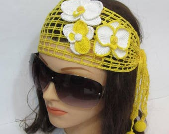 Women Lace Headband with Orchid Flower, Yellow Lace Summer Headband, White Orchid Headband for women,Unique Women Hair Accessory