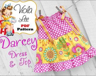 Toddler Sewing Pattern pdf. Toddler Pillowcase Dress, Baby pillowcase Dress Pattern pdf. Girl's Pillowcase Dress Sewing Pattern pdf. Darcey