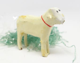 Vintage German Wooden Sheep, Painted Toy for Putz or Nativity