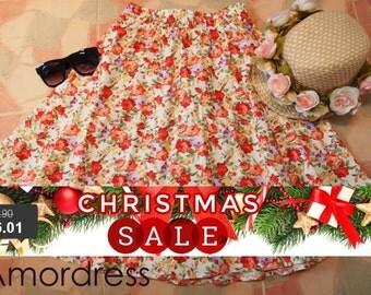 "Christmas SALE Tangerine Floral Skater Swing Skirt Vintage Floral Midi Rustic Wedding Skirt  -Free Size Waist 26""-29"""