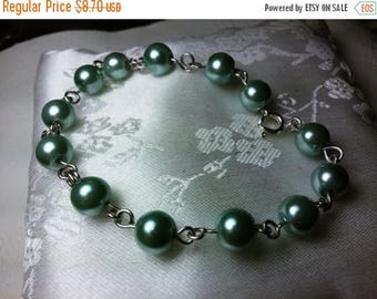 Etsy On Sale Flawless Glass Pearl Bracelet,  7.5inch, Moss Green 8mm Pearls, Great Gift, Mother's Day, Graduation Gift, Wedding Gift, Easter