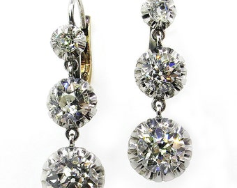 3.22ct Antique Victorian Old EUROPEAN and Old MINE Cut Diamond Drop Earrings in Plat & 18K Yellow Gold