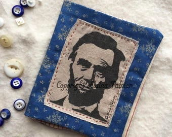 Handmade Hand Stitched Abraham Lincoln Patriotic Needle Book with Pins and Needles Red White Calico Print Woodblock Print Lincoln Graphic