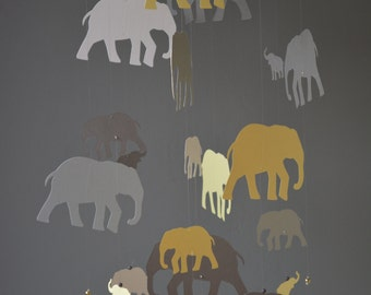 Elephant nursery mobile or baby mobile made from soft yellow and grey shades card stock -- Handmade mobile, baby gift or nursery decor