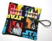 Star Wars Party Favors READY TO SHIP- Luke Princess DarthVader fabric Crayon-Roll Party Theme, Star Wars Birthday Party Favors crayon holder