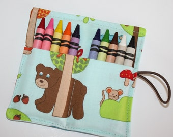 CUSTOM Crayon Rolls, Bears and Woodland Animals, holds up to 10 Crayons,  Party Favors Crayon Rolls