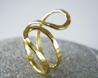 Infinity gold ring gold Abstract ring Statement ring Hammered gold ring