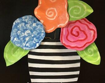 New Summer Door Hanger, Spring Door Hanger, Bright Floral Door Hanger with Black and White Stripes, Summer Wreath, Spring Wreath
