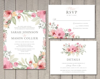 Spring Blooms Wedding Invitation, RSVP, Details Card (Printable) by Vintage Sweet