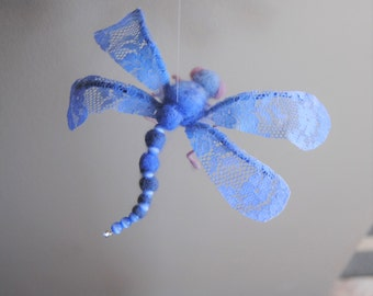 Blue Dragonfly, Eco friendly toy, Wool and lace dragonfly, Felted sculptures, Toy Felt, Needle Felted Animals, Birthday gift