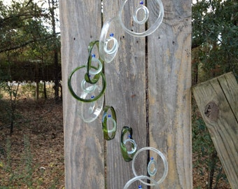 GLASS WINDCHIMES from RECYCLED bottles, eco friendly,clear green, garden decor, wind chimes, mobiles, musical, windchimes