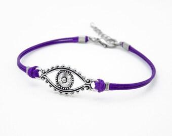 Evil Eye Bracelet, Purple Bracelet, Waxed Cord Bracelet, Silver Eye Bracelet